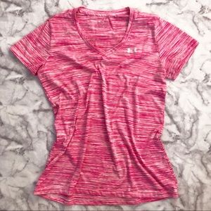 Under Armour Pink Heathered Workout Tee